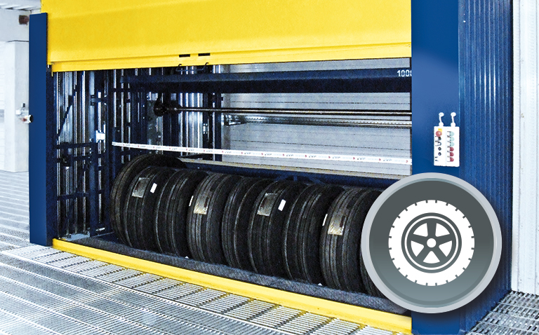 Space-saving storage solution for tyres